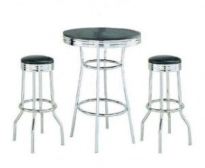 Chrome High Top Table and Stools Set